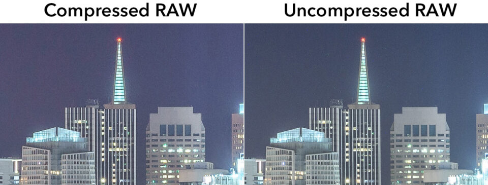 This comparison shows a compressed RAW image next to an uncompressed RAW image. The compressed RAW has noticeably artifacts that harm image quality.