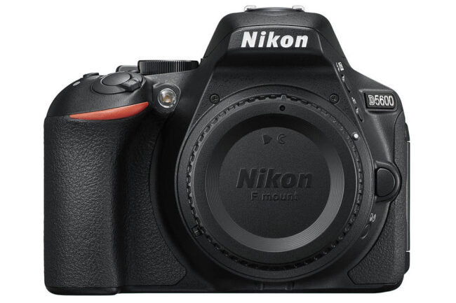 Nikon D5600 front view. The D5600 is a 24 megapixel entry-level Nikon DSLR with a DX sensor and a tilt-flip LCD.