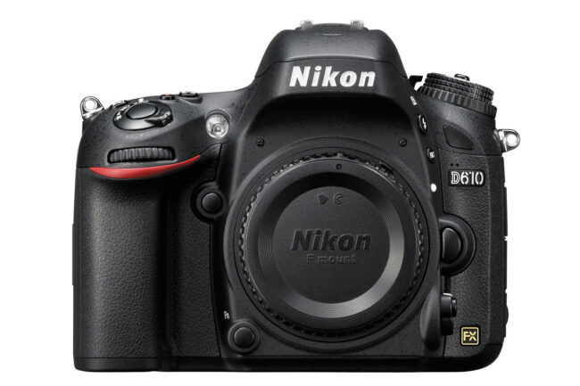 The Nikon D610 is Nikon's entry-level full-frame FX DSLR. It has a 24 megapixel camera sensor and an outdated 39-point autofocus system.