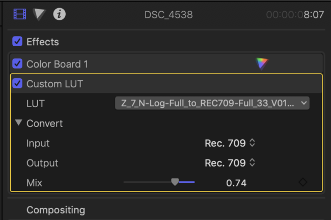 Using the Nikon Z6 and Z7 Lookup Table in Final Cut Pro