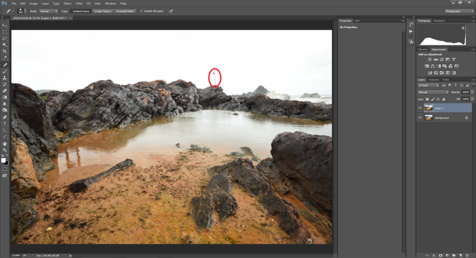 Spot Healing tool in Photoshop