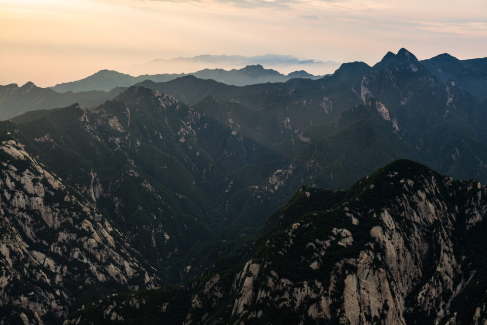 This Panasonic S1R sample photo shows the landscape of Hua mountain in China, taken at sunrise.