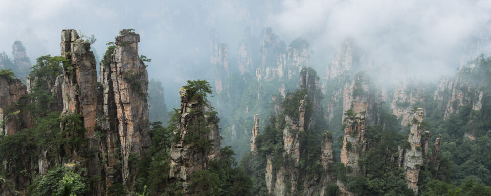 This Panorama landscape photo, taken with the Panasonic S1R, shows the Zhangjiajie mountains in China.