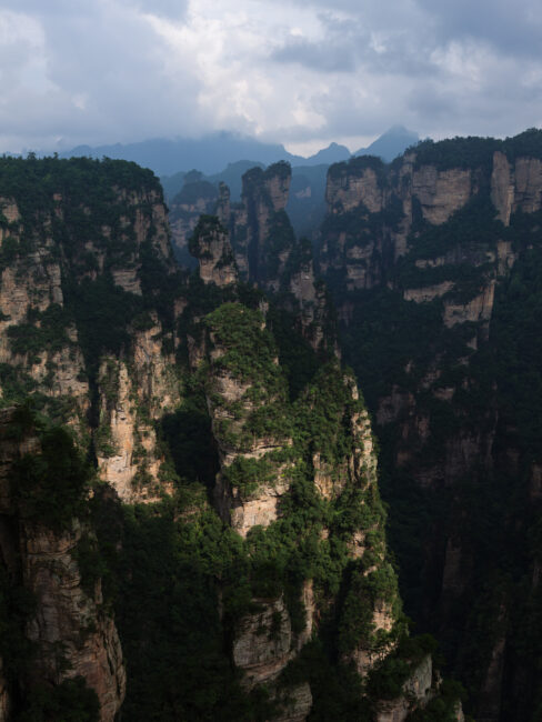 A break in the clouds at Zhangjiajie, China lit up the landscape with beautiful light.
