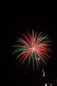 Colorful fireworks against black sky