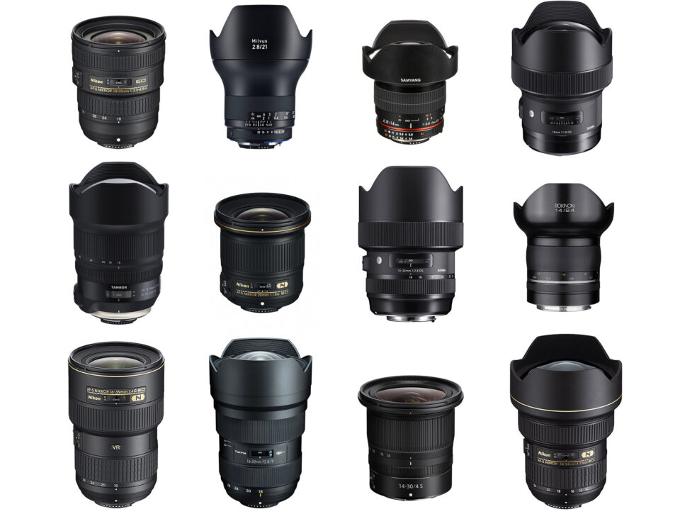 This illustration shows twelve of the best wide angle lenses for Nikon cameras side by side.