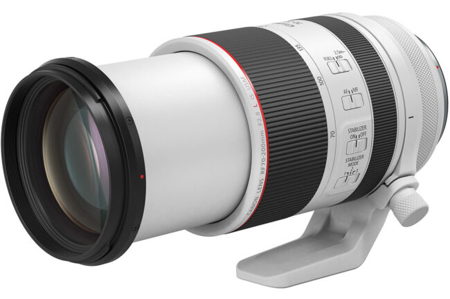 The Canon RF 70-200mm f/2.8L IS USM is a small, lightweight telephoto zoom for Canon's full-frame mirrorless RF system. It will cost $2700 when it ships in late November 2019. Here, it is shown extended when zoomed in to 200mm.