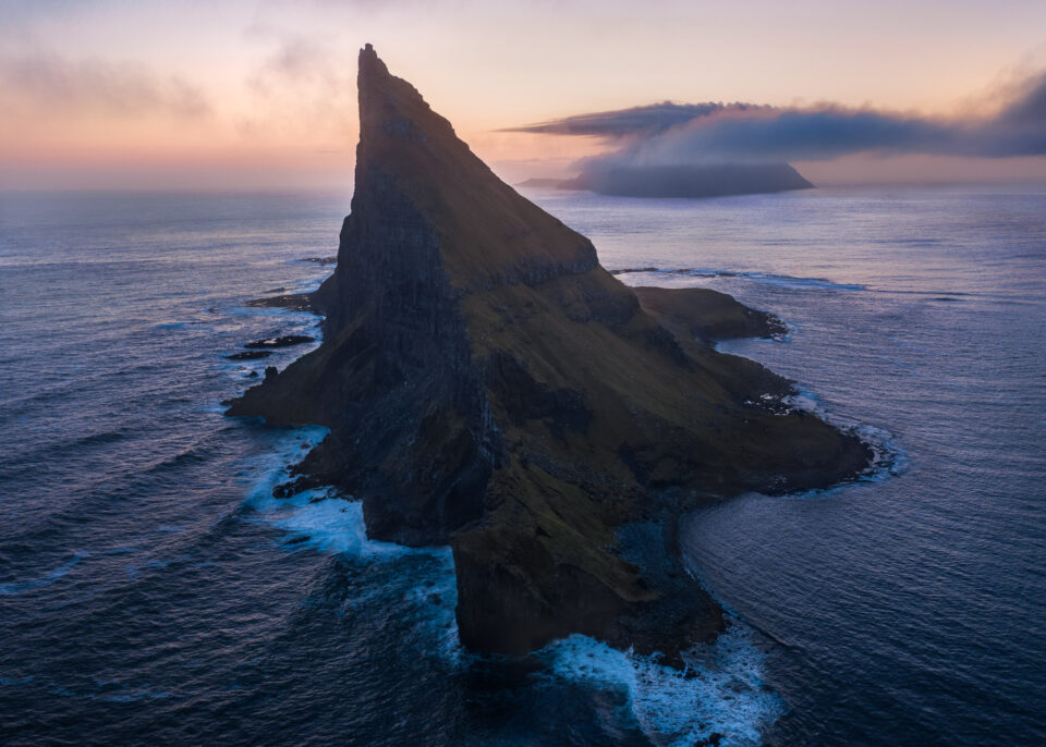 This drone photograph shows Tindholmur in the Faroe Islands, captured with my smartphone as a camera remote.