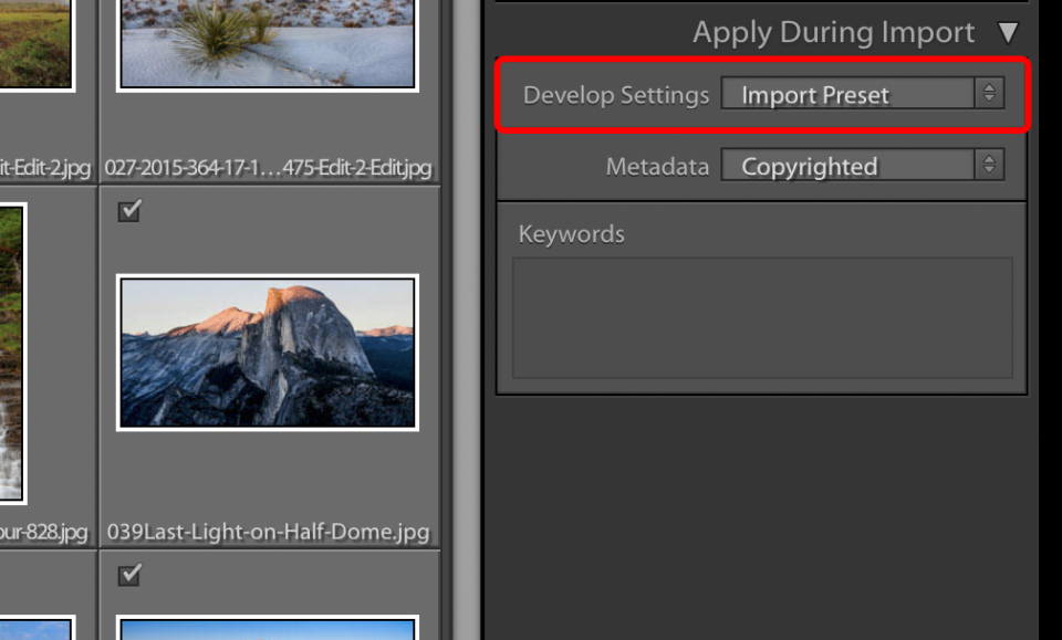 When you import photos into Lightroom, you have the option to apply a develop preset automatically. Here, I have selected an import preset that sets color noise reduction to zero.