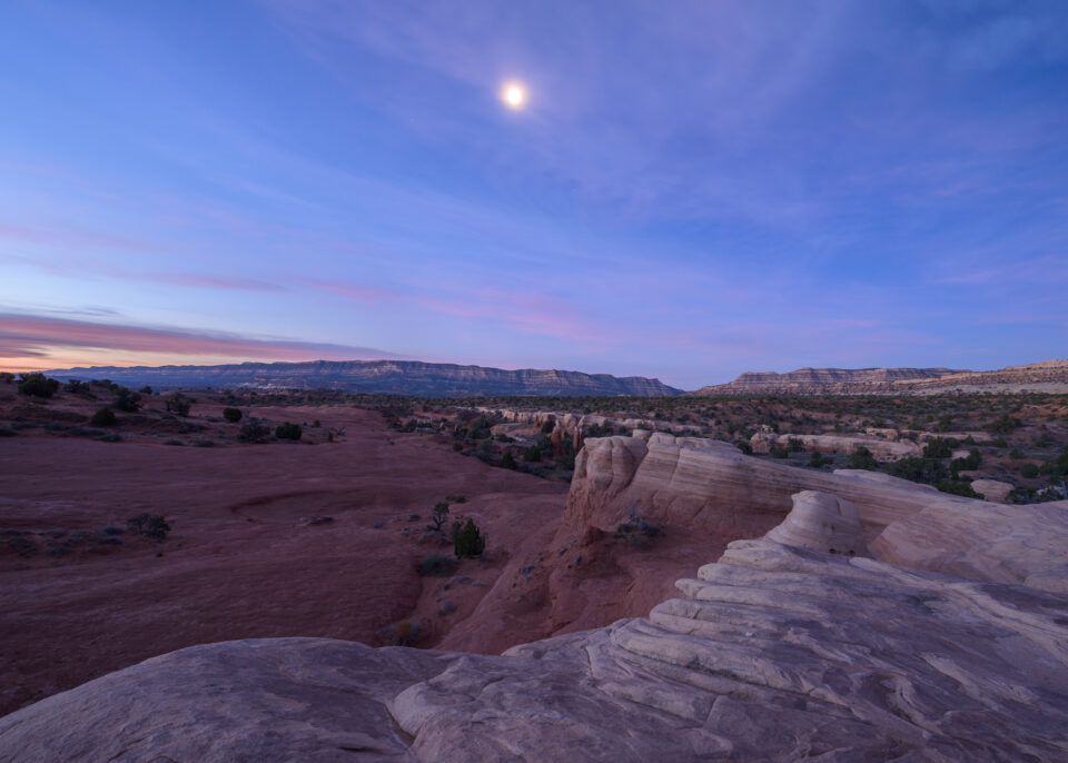 This landscape photo shows the moon over Escalante in Utah, taken with the Nikon 14-24mm f/2.8 AF-S zoom.