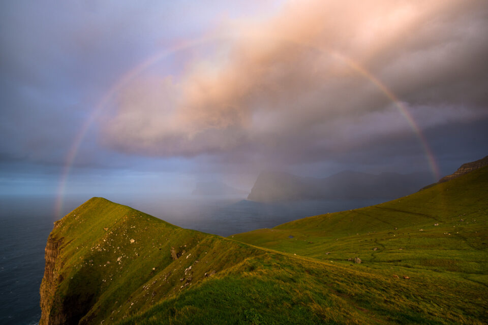 14mm is wide enough that a rainbow easily fits in the frame. I took this photo on Kalsoy in the Faroe Islands using the Nikon Z 14-30mm f/4 at its widest focal length.