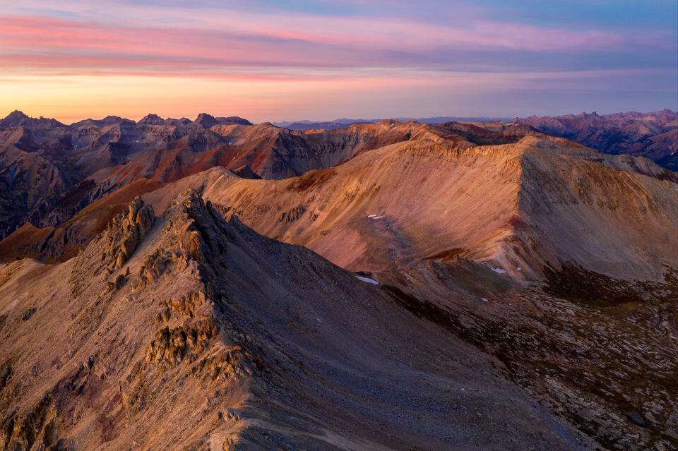 An image of San Juan Mountains of Colorado at Sunset