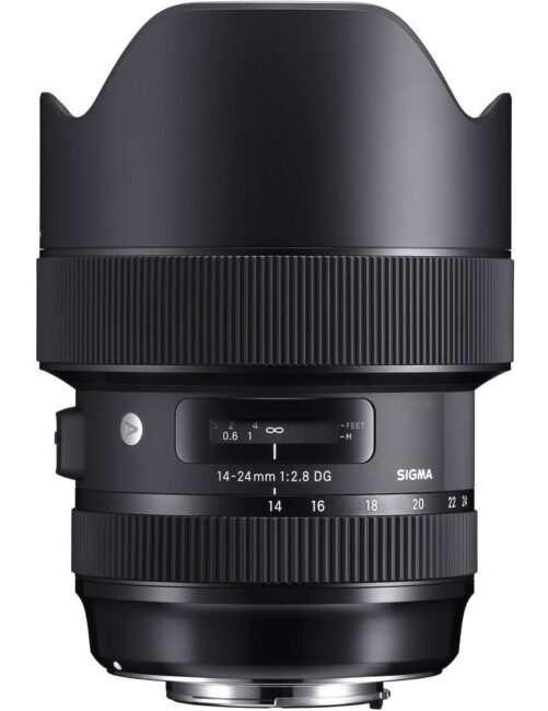 This product photo shows the Sigma 14-24mm f/2.8 Art, a high quality ultrawide lens for Nikon F mount.