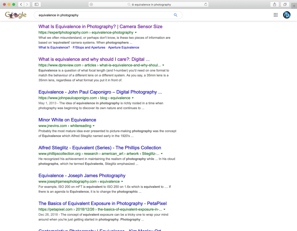 Equivalence in Photography Google Search