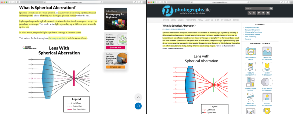 ExpertPhotography Spherical Aberration Article Duplication