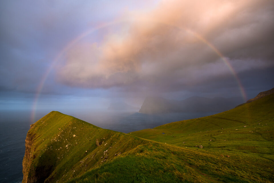 Photograph of a Rainbow on Kalsoy in the Faroe Islands