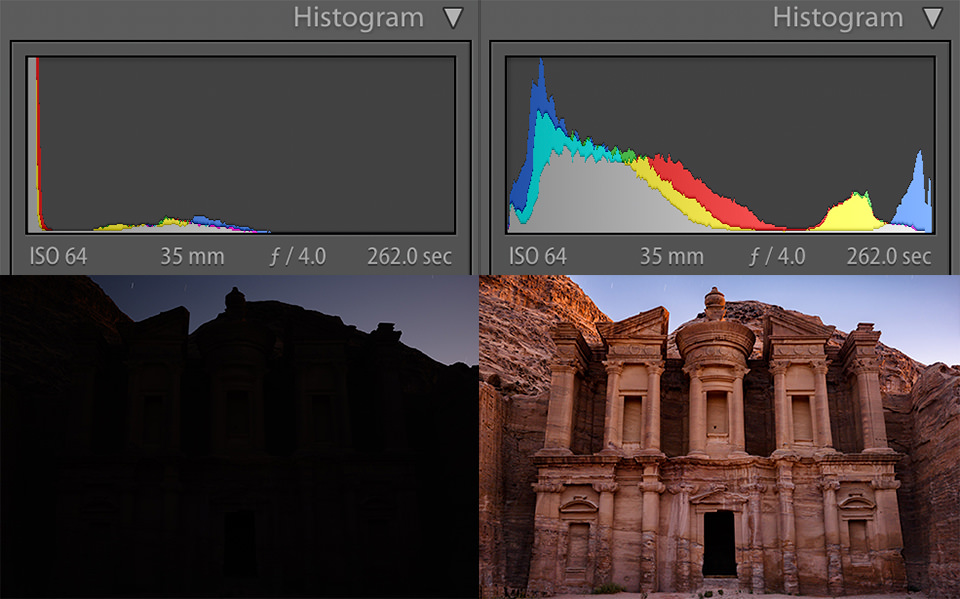 Underexposed vs Recovered Shadow Detail in Histogram