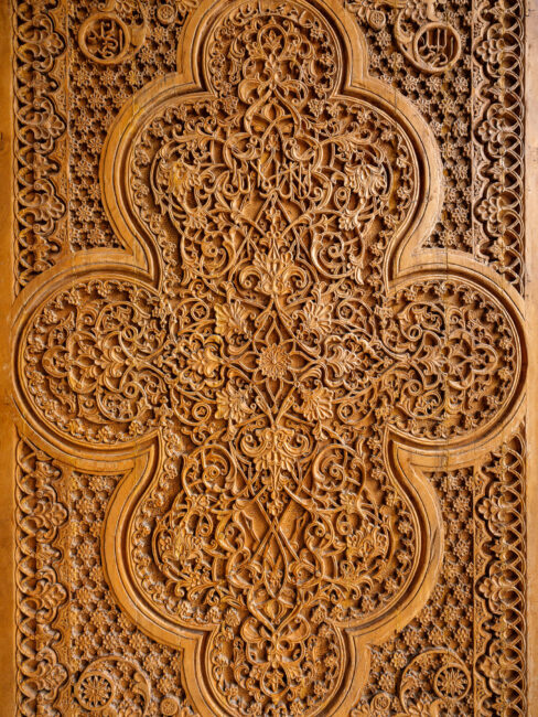 A wood-carved door from Samarkand Uzbekistan