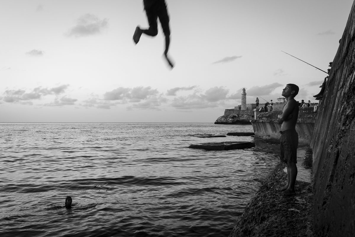 Jumping into water in Cuba