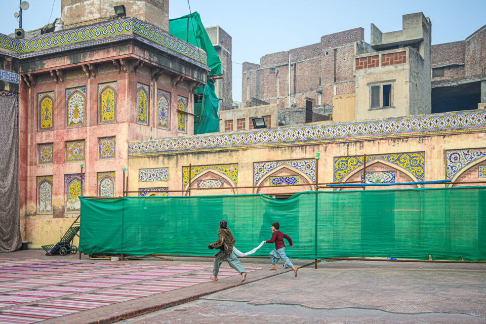 Never a dull moment - inside the mosque's courtyard