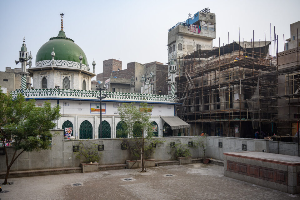 Looking out to Lahore's Old City from Wazir Khan Mosque