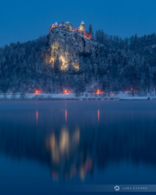 Lake Bled castle in winter