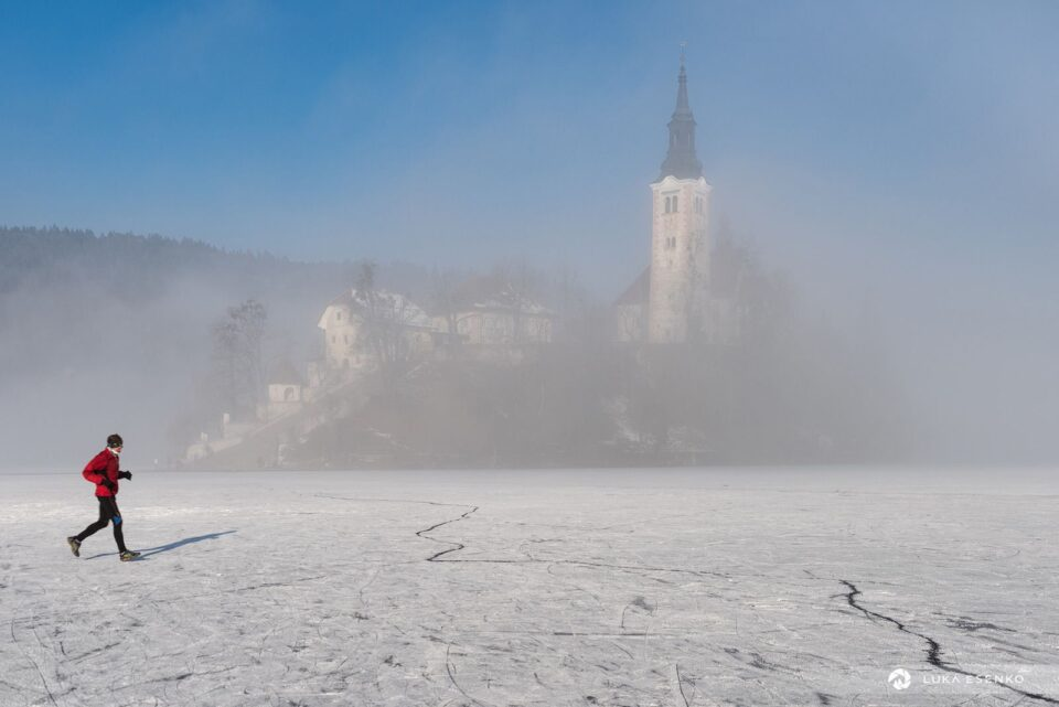 Increasingly rare sight. Frozen Lake Bled, where people can walk (or jog or skate) to the island.