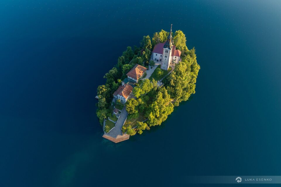 An aerial view of the Lake Bled island