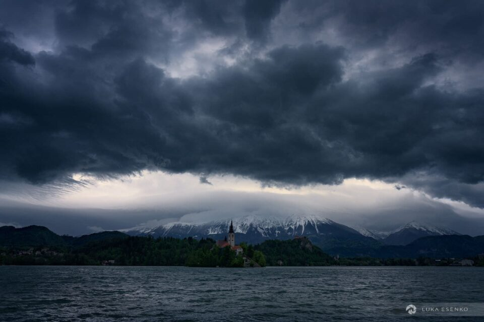 Dramatic sky with approaching storm. The weather even brought some fresh snow in late spring!