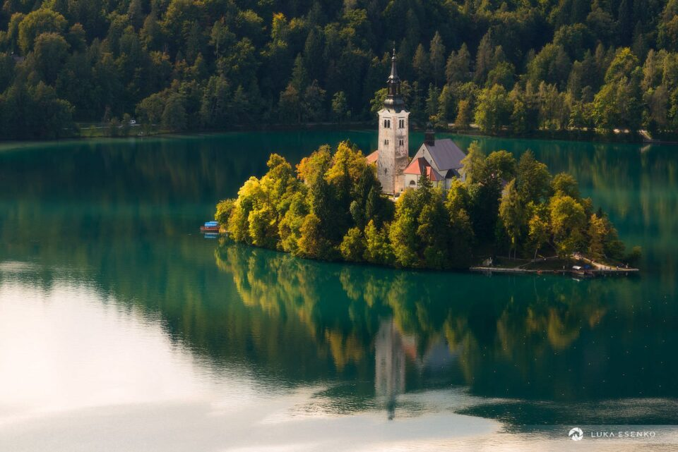 Lake Bled island as seen from the castle