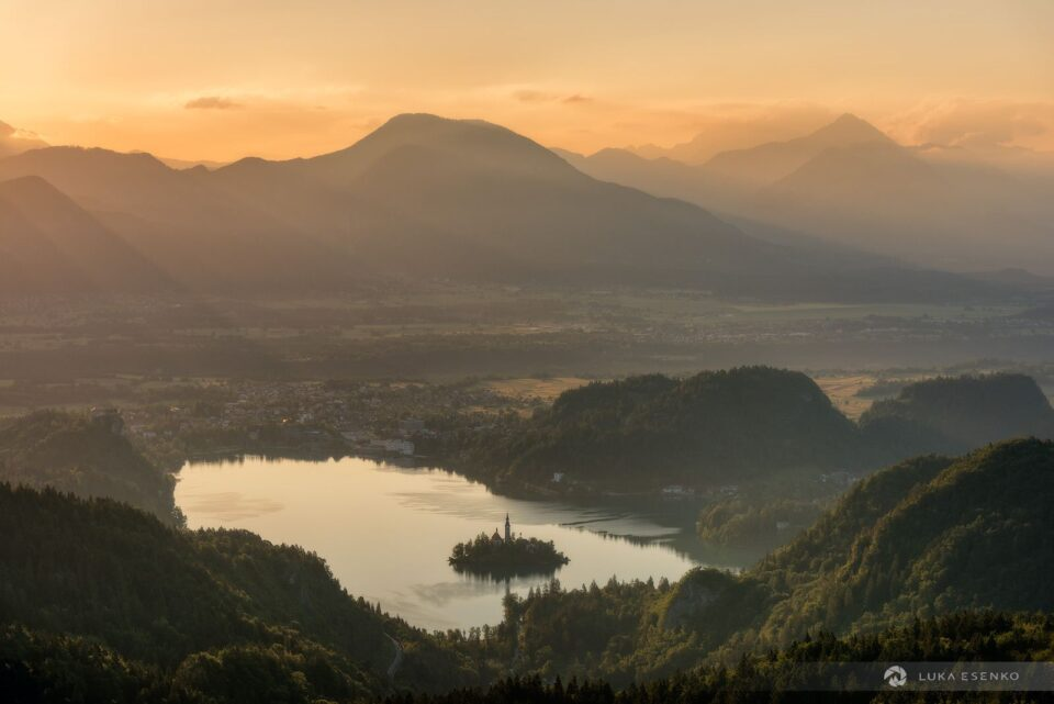 Morning atmosphere above Lake Bled. There are Karavanke and Kamnik-Savinja Alps in the background.