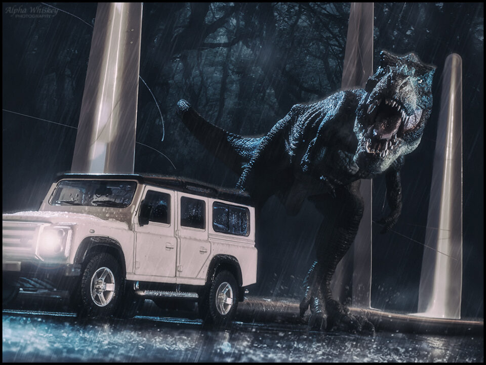 T-rex with white car