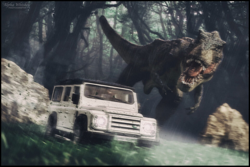 T-Rex running with car