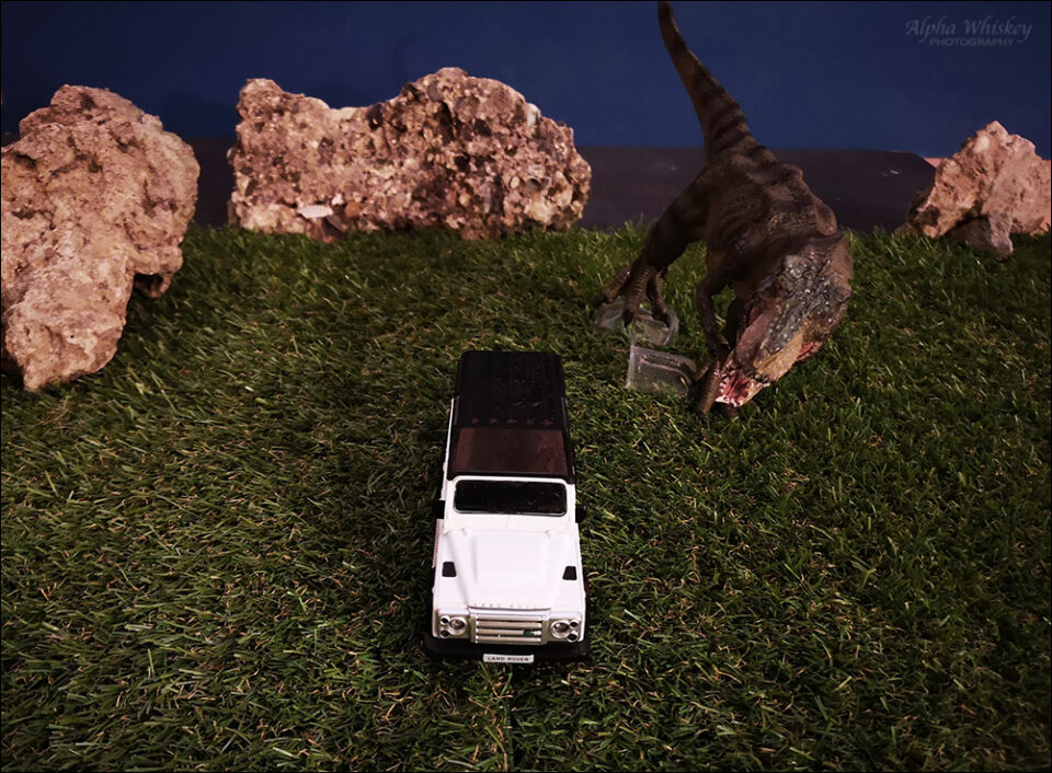 T-rex model with car