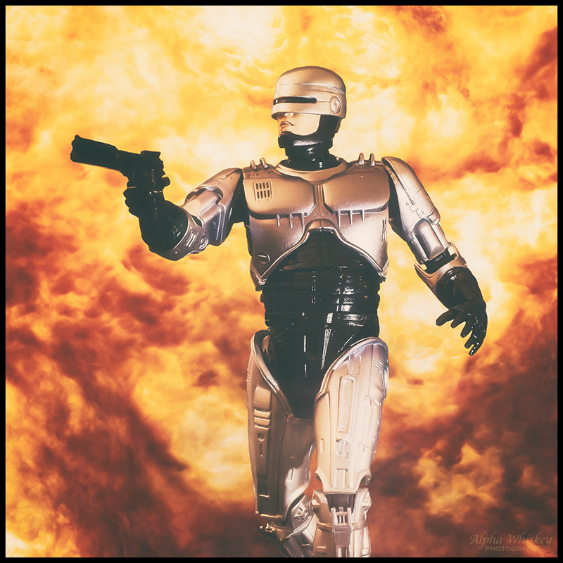 Robocop with background explosion