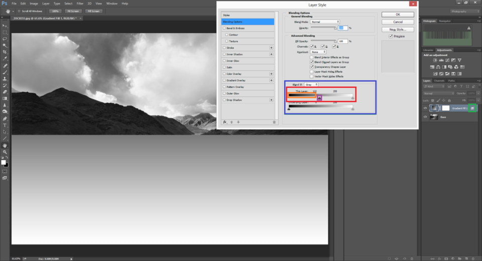 Blend If Window that pops up when we double click on the right side of the selected layer