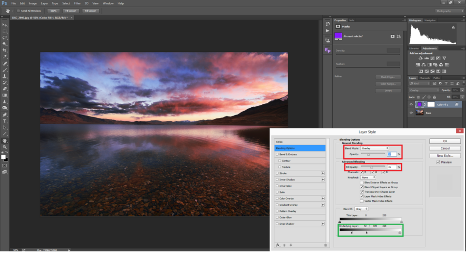Adjustments are made to Opacity and Fill with the Overlay blend mode selected
